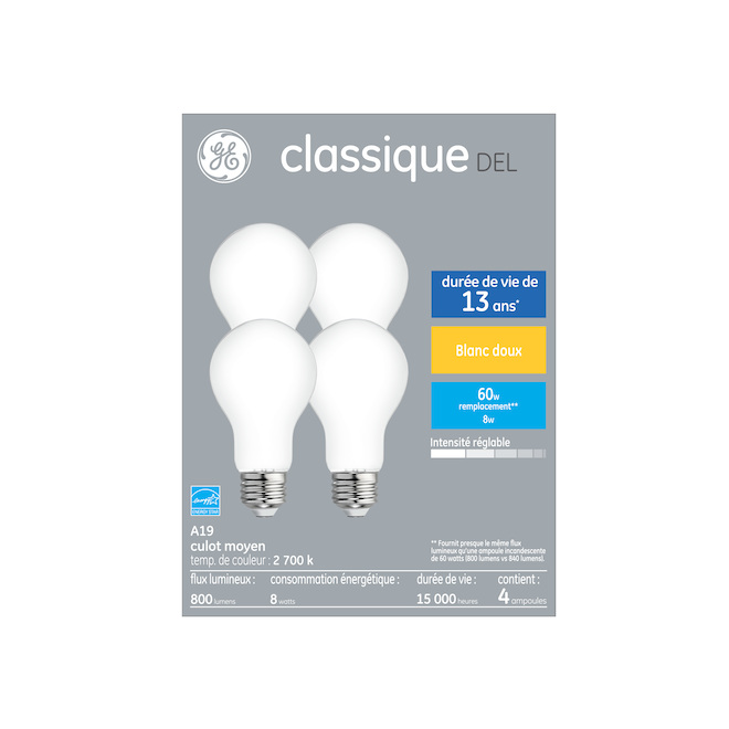 GE LED Bulb - A19 - 8.0 W - Dimmable - Soft White - 4/Pack