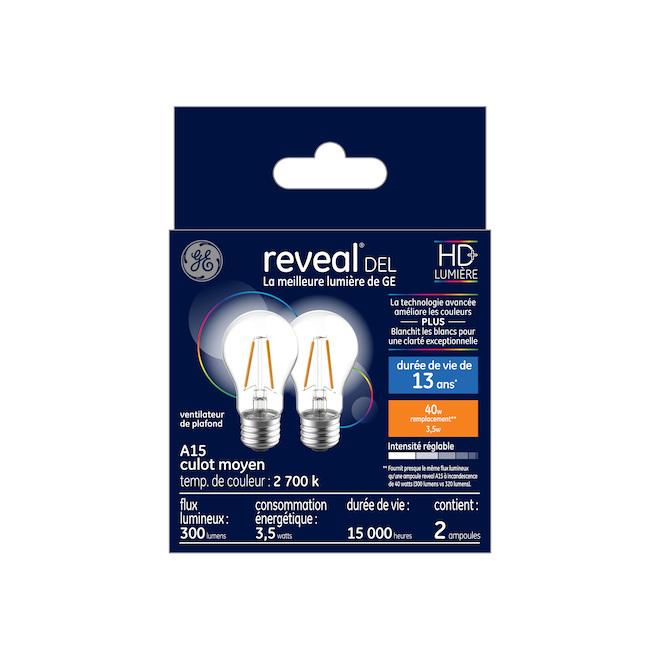 Ampoule DEL GE Reveal(MD), A15 HD, 4,5 W, blanc, 2/pqt
