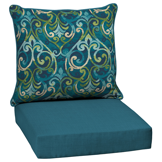 Style Selections Reversible Deep-Seating Chair Cushion Set - Damask/Solid Pattern - 2-Piece