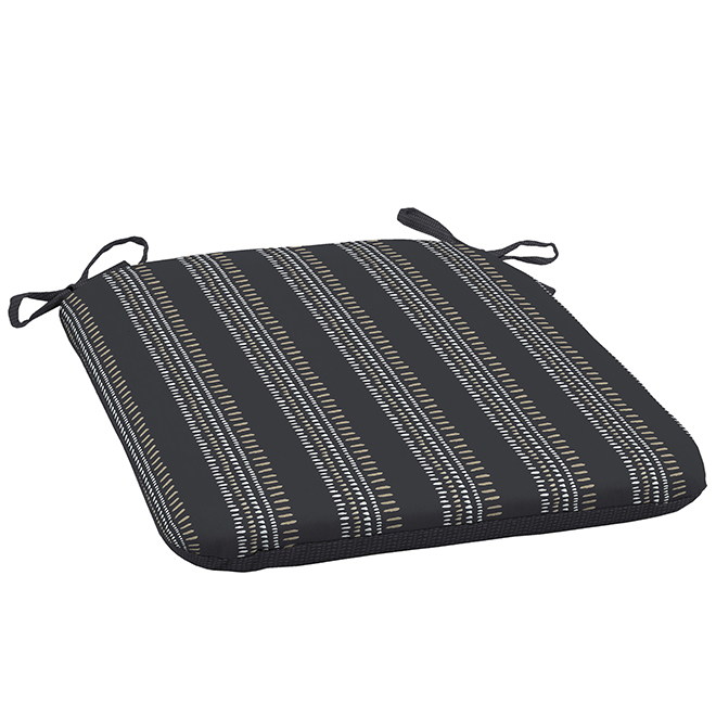 Style Selections Reversible Patio Chair Cushion - 19-in x 18-in x 2.5-in - Polyester - Striped/Solid Pattern - Black