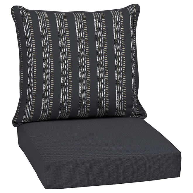 Style Selections Reversible High-Back Chair Cushion Set - Polyester - Striped/Solid Pattern - Black - 2-Piece