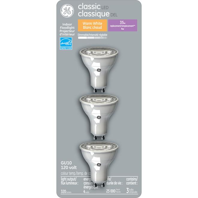 Ampoules DEL GU10 GE en verre de 35 W, blanc chaud, 3/pqt