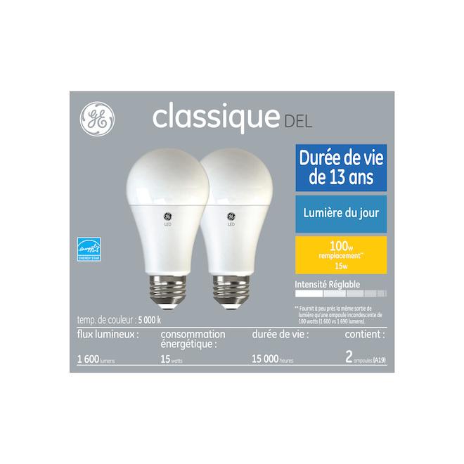 Ampoule 100 W DEL de remplacement A19 par GE, lumière du jour (Paquet de 2)