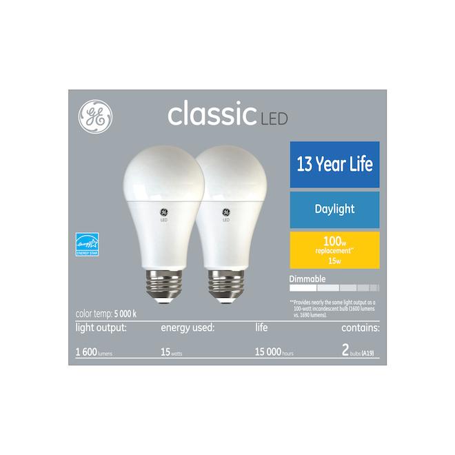 GE Lighting A19 LED Bulbs - 100 W Daylight 2/Pack