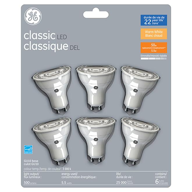 GE LED Bulb - GU10 - 50 W - Warm White - 6/Pack