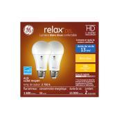Ampoules DEL, GE Lighting, A19 Relax, verre équivalent 100 W, blanc doux 2/paquet
