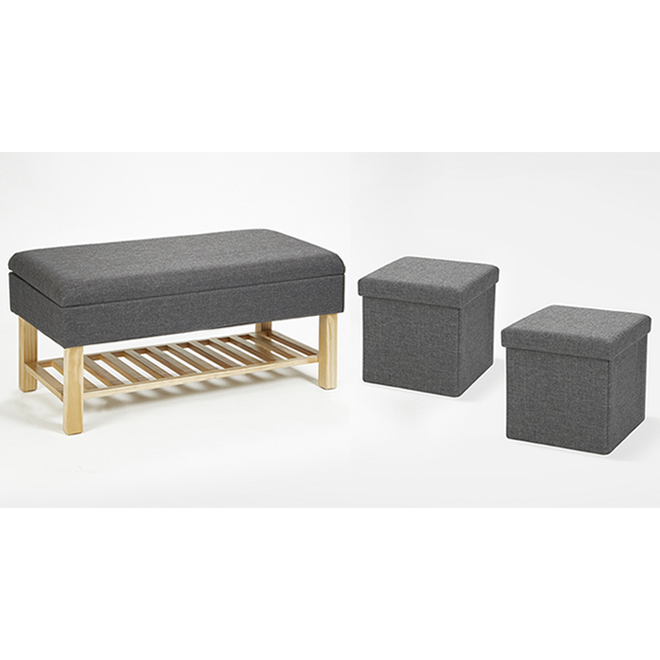Fresh Home Elements Storage Bench with 2 Ottomans - Charcoal