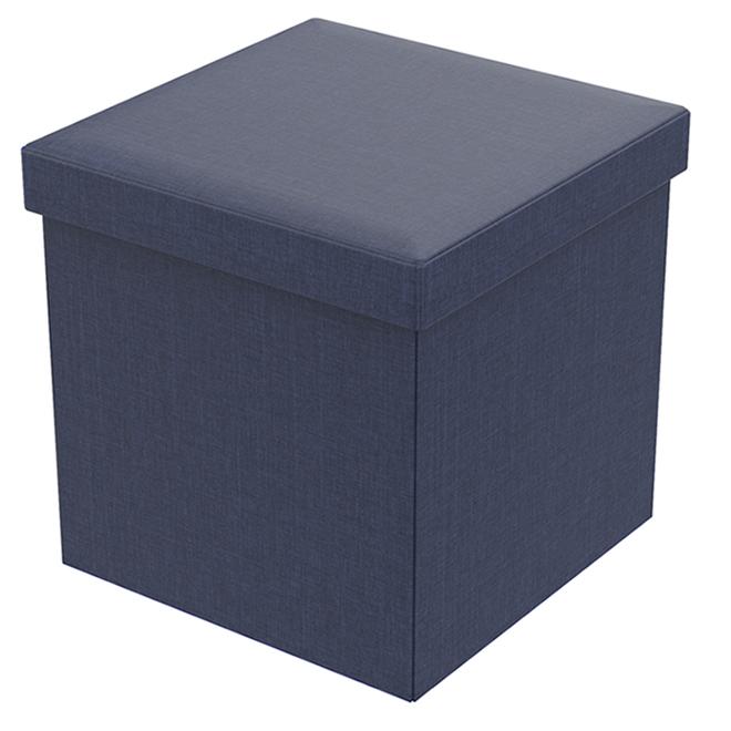 Fresh Home Elements Folding Storage Ottoman - Linen - 15-in - Blue