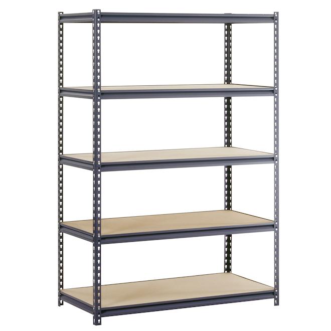 Muscle Rack 5-Tier Freestanding Shelving Unit - Steel - 72-in x 48-in x 24-in - Black