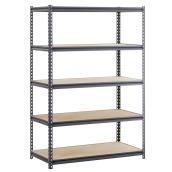 Muscle Rack 5-Tier Freestanding Shelving Unit - Steel - 72-in x 48-in x 24-in - Black