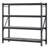 Edsal 4-Tier Shelving Unit - Steel - 72-in x 77-in x 24-in - Black