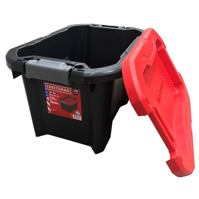Boîte de rangement en plastique de 37 l Craftsman avec couvercle à loquet, noir