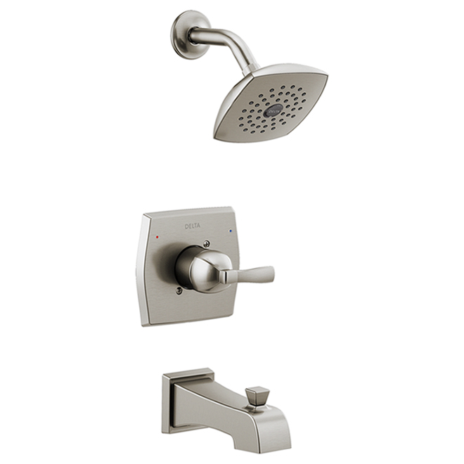Delta Flynn Stainless Steel 1-Handle Bathtub and Shower Faucet with Valve