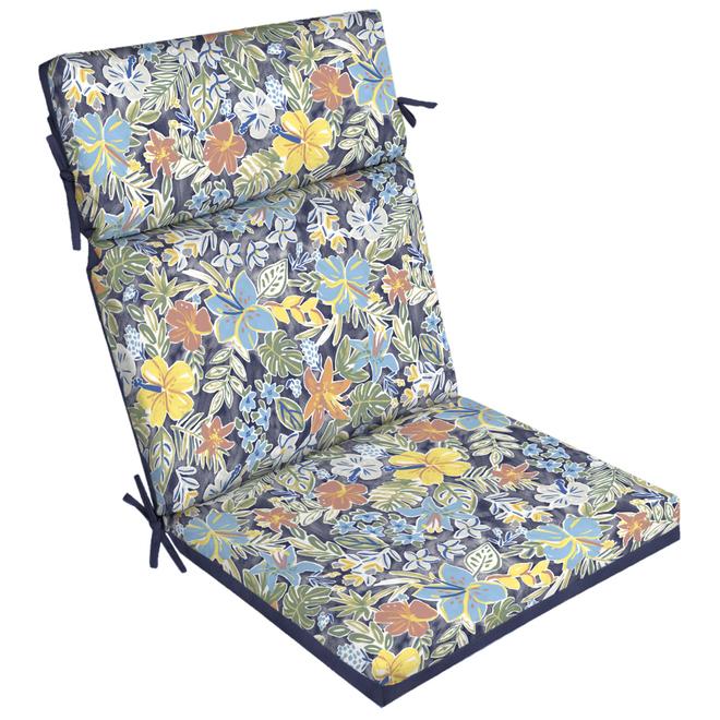 Coussin de chaise de patio Style Selections, dossier haut, aquarelle bleu