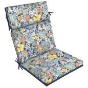 Coussin pour chaise de patio à dossier haut Style Selections, polyester, motif floral, aquarelle/bleu