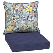 Style Selections Deep Seat Patio Chair Cushions - Polyester - Floral Pattern - Watercolour/Blue - 2-Piece