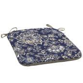 Coussin pour chaise de patio Style Selections, motif de fleurs, 18 po x 19 po, bleu/gris