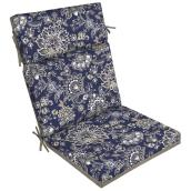 Style Selections Patio Chair Cushion - Flower Pattern - 44-in x 21-in - Navy/Grey