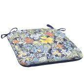 Coussin réversible pour chaise de patio Style Selections, 18 po x 19 po x 2,5 po, polyester, motif floral/uni, bleu