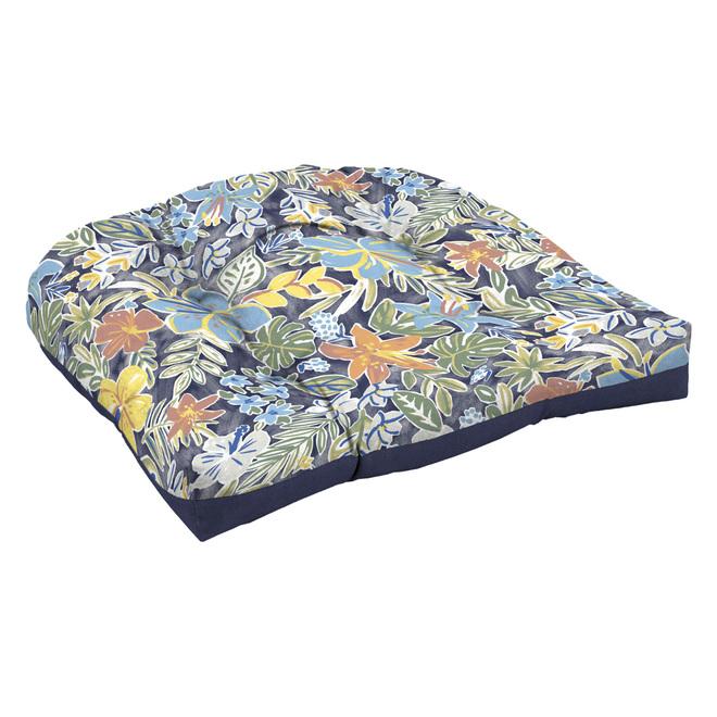 Coussin Style Selections pour chaise en osier, aquarelle, 18 po x 20 po, polyester, bleu