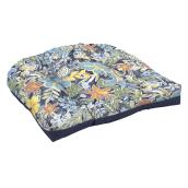 Coussin réversile pour chaise en osier Style Selections, 18 po x 20 po x 2,5 po, polyester, motif floral/uni, bleu