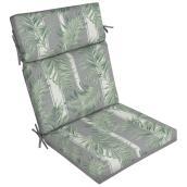 Coussin réversible pour chaise de patio à dossier haut Style Selections, 44 po x 21 po x 4,5 po, polyester, vert et gris