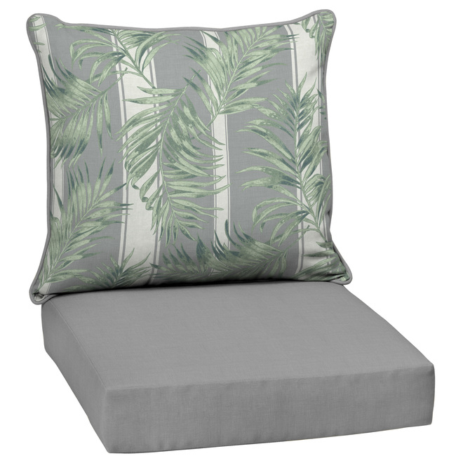 Coussins Cabana de Style Selections pour fauteuil de patio, assise profonde, 46 po x 25 po, gris