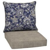 Style Selections Patio Chair Cushions - Deep Seat - 46.5-in x 24-in - Grey/Navy Blue