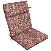 Style Selections High Back Patio Chair Cushion - Trellis - 44-in x 21-in - Red