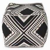 Pouf carré Allen + Roth, motif géométrique, 14 po x 18 po, polyester, noir et blanc
