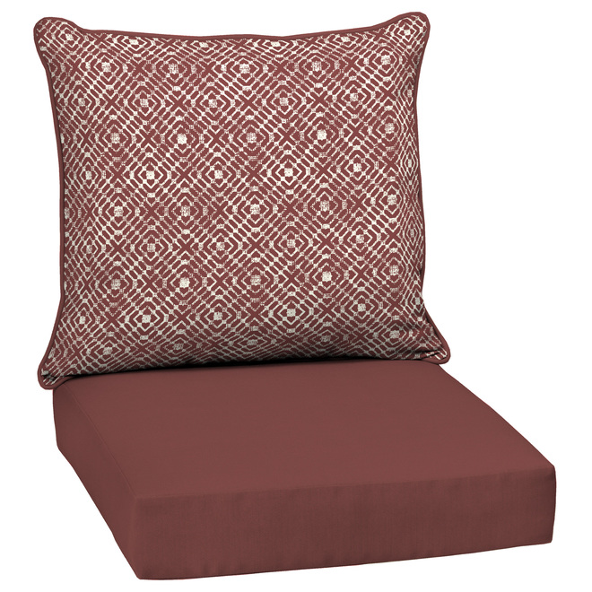 Style Selections Deep Seat Patio Chair Cushions - Trellis - 46-in x 25-in - Red