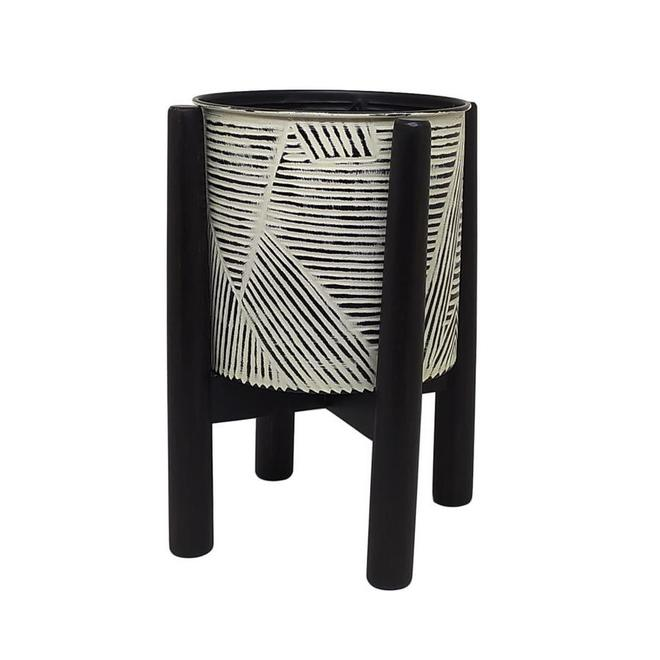 Allen + Roth Plant Stand with Pot - 13-in x 17.25-in - Wood - Black and White