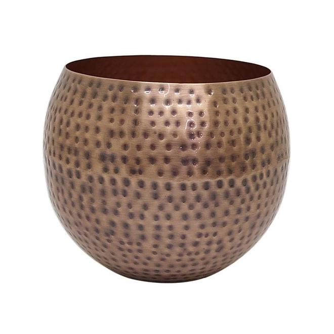 Allen + Roth Round Planters - 10-in - Hammered Copper