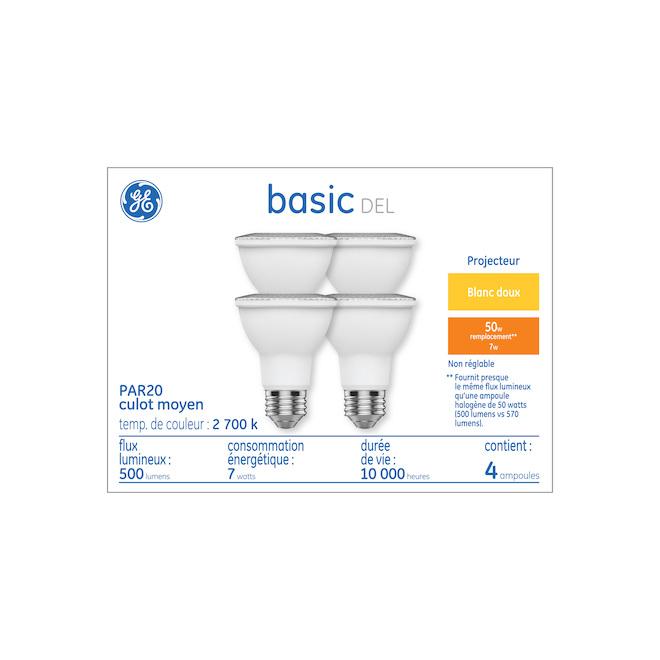 Ampoules de remplacement PAR20 pour projecteur à DEL de 50 W, blanc doux de GE Basic (paquet de 4)