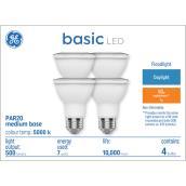 GE Basic Daylight 50W Replacement LED Floodlight PAR20 Light Bulbs (4-Pack)