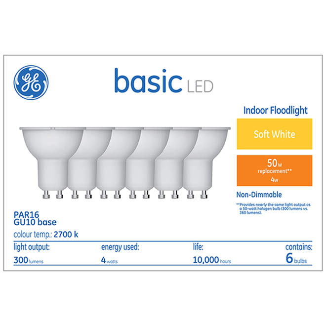 GE LED GU10 Bulb - 50 W Equivalent - Soft White - Non-Dimmable - Pack of 6