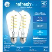 GE Refresh(TM) 6.2 W ST19 LED Bulbs - Daylight - 2/Pack
