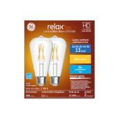 Ampoules décoratives transparentes Relax HD par GE ST19 à DEL blanc doux de 60 W , paquet de 2