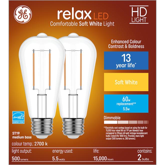 GE relax(TM) 5.5 W ST19 LED Bulbs - Soft White - 2/Pack