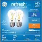 GE Refresh(TM) 4.0 W A15 LED Bulbs - Daylight - 2/Pack