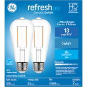 GE Refresh HD Daylight 60W Replacement LED Clear Decorative ST19 Light Bulbs (2-Pack)