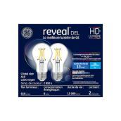 Ampoules DEL GE reveal(MD) A19 de 8,0 W, cristal clair, 2/pqt