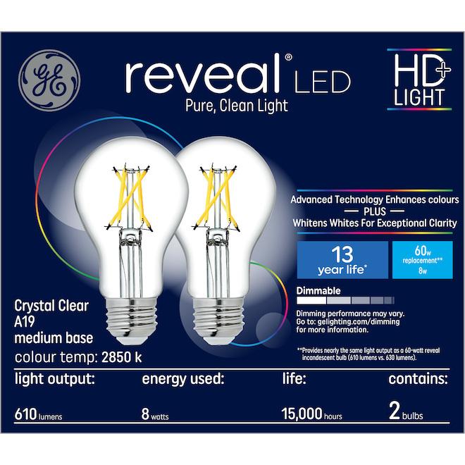 GE reveal(R) 8.0 W A19 LED Bulbs - Crystal Clear - 2/Pack