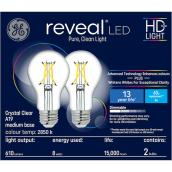 GE reveal(R) 8.0 W A19 LED Bulbs - Crystal Clear - 2/Pack