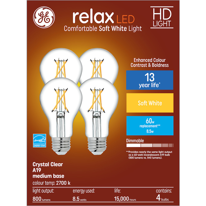 GE relax(TM) 8.5 W A19 LED Bulbs - Soft White - Crystal Clear - 4/Pack