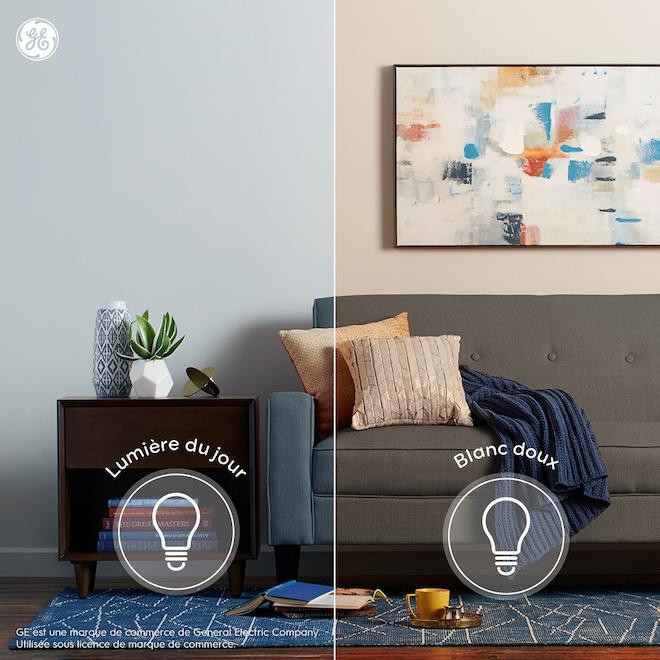 Ampoules transparentes Relax HD par GE A19 à DEL blanc doux de 60 W à usage général, paquet de 4