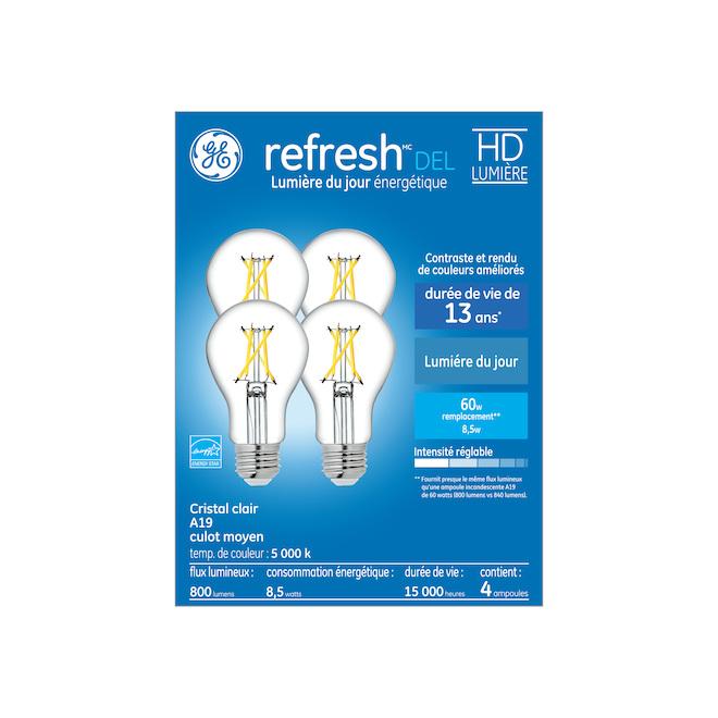 Ampoules DEL GE Refresh(MC) A19 de 8,5 W, lumière de jour, cristal clair, 4/pqt