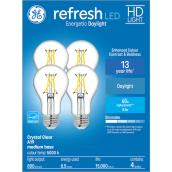 GE Refresh(TM) 8.5 W A19 LED Bulbs - Daylight - Crystal Clear - 4/Pack
