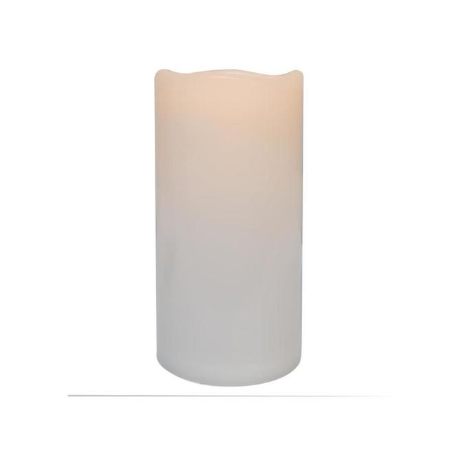 Danson Decor Indoor Outdoor Flameless Candle with Flickering LED Light - 4-in x 8-in - White