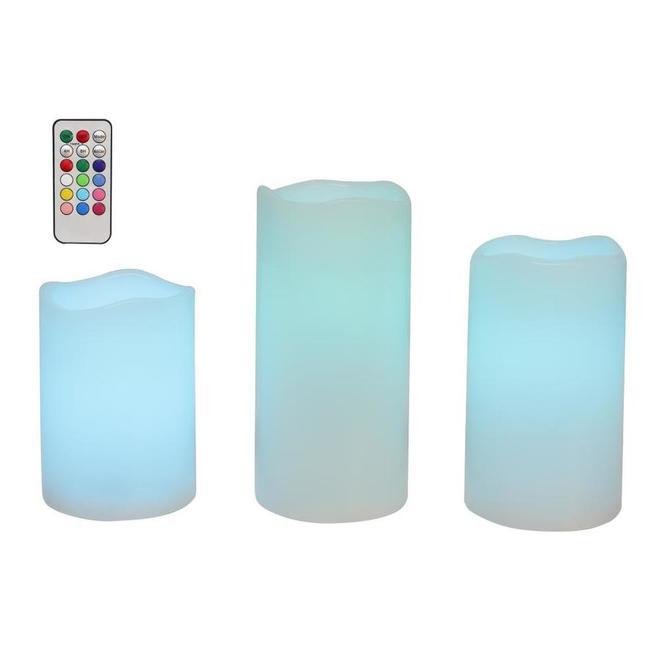 Ensemble de 3 bougies d'extérieur sans flamme Danson Decor, lumière DEL 18 fonctions